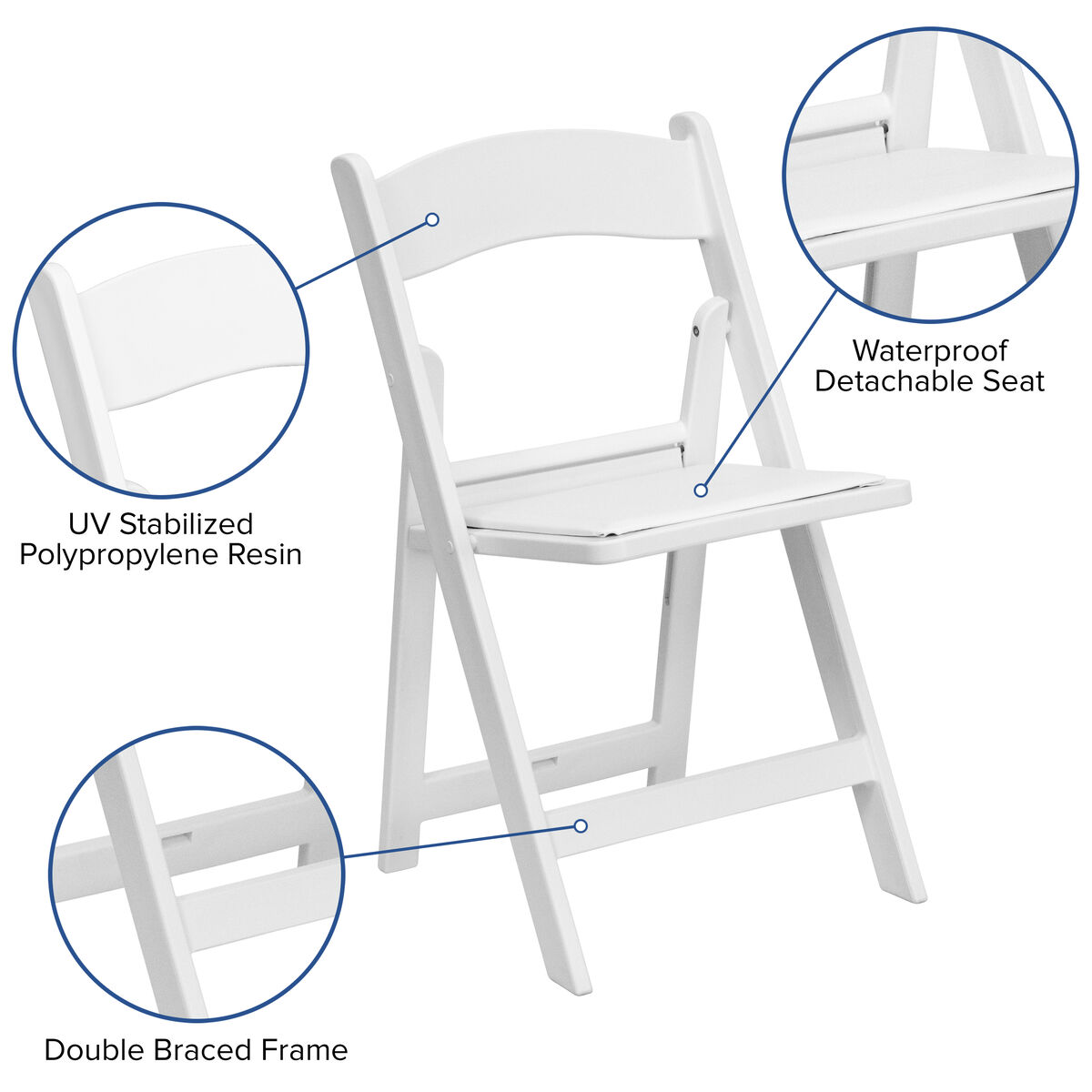Pleasing Hercules Series 1000 Lb Capacity White Resin Folding Chair With White Vinyl Padded Seat Squirreltailoven Fun Painted Chair Ideas Images Squirreltailovenorg