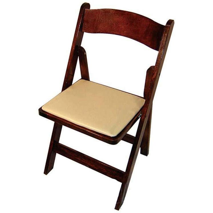 Attirant ... Our Classic Series 30.5u0027u0027H Wood Folding Chair   Fruitwood   Tan Vinyl  Seat