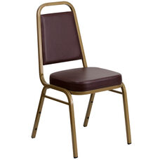 HERCULES Series Trapezoidal Back Stacking Banquet Chair in Brown Vinyl - Gold Frame