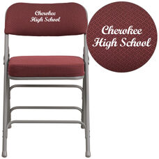 Embroidered HERCULES Series Premium Curved Triple Braced & Double Hinged Burgundy Fabric Metal Folding Chair