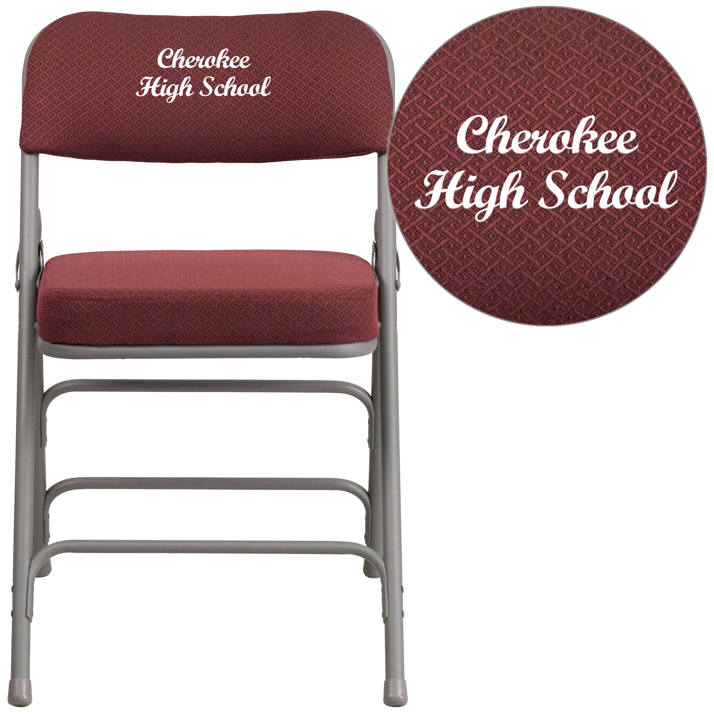 Our Embroidered HERCULES Series Premium Curved Triple Braced U0026 Double  Hinged Burgundy Fabric Metal Folding Chair