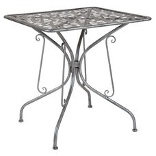 "Agostina Series 27.5"" Square Antique Silver Indoor-Outdoor Steel Patio Table"