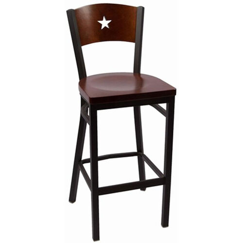 Liberty Series Wood Back Armless Barstool with Steel Frame and Wood Seat - Walnut