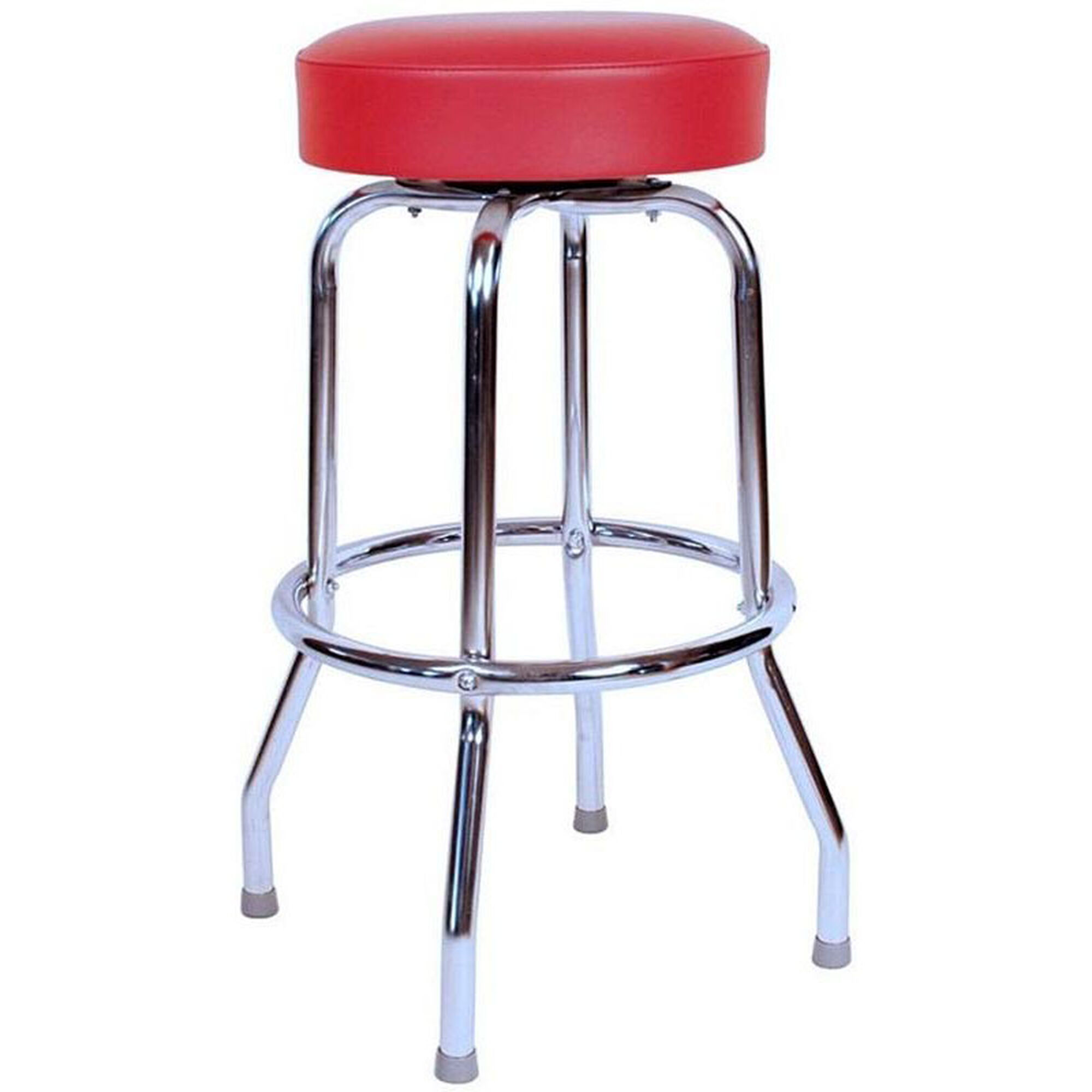 Fantastic 50S Retro Backless 30H Swivel Bar Stool With Chrome Frame And Padded Seat Red Vinyl Andrewgaddart Wooden Chair Designs For Living Room Andrewgaddartcom