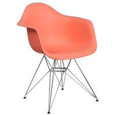 Alonza Series Peach Plastic Chair with Chrome Base