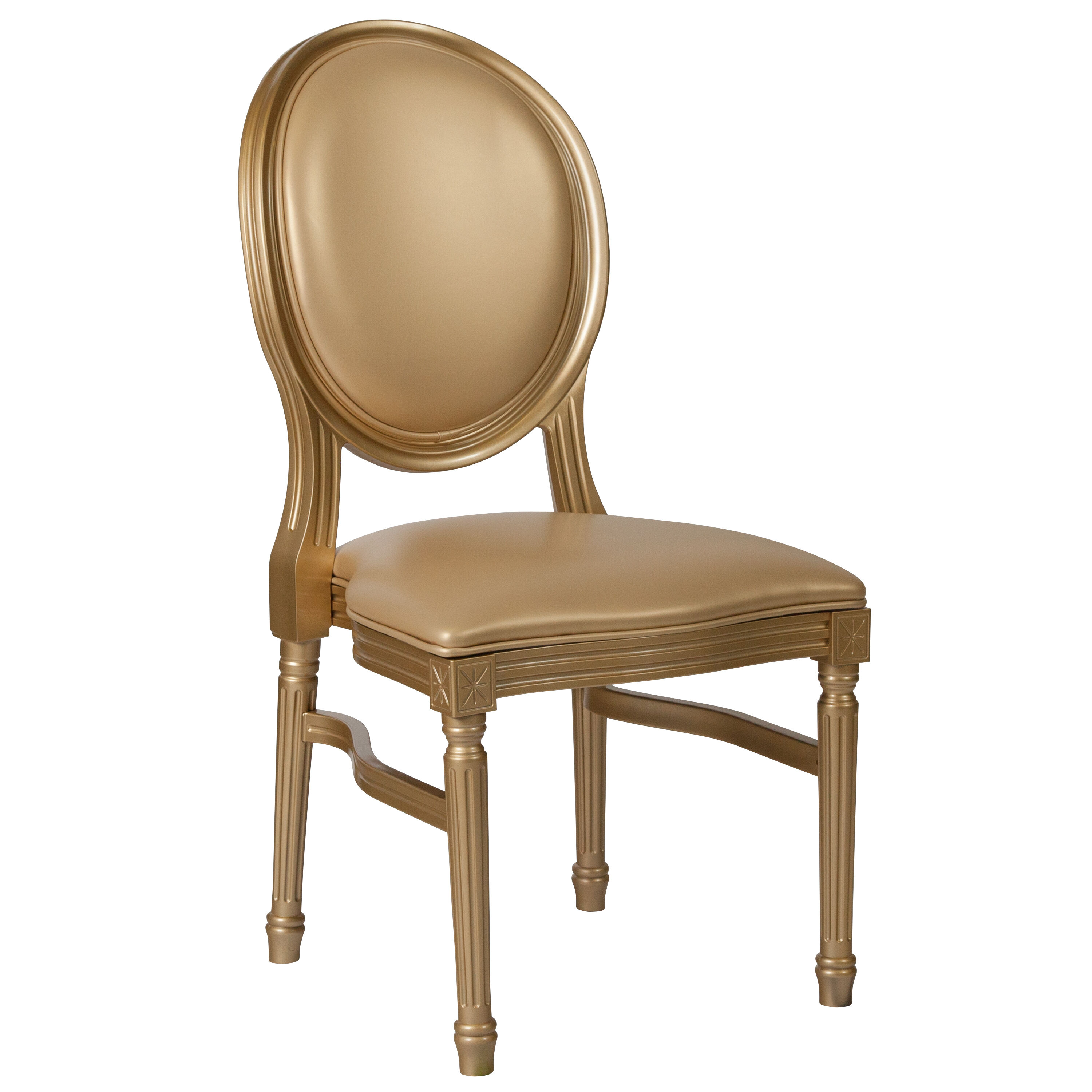 Attirant Capacity King Louis Chair With Gold Vinyl Back And Seat ...
