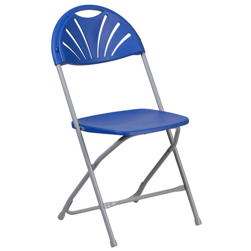 Our HERCULES Series 650 lb. Capacity Blue Plastic Fan Back Folding Chair is on sale now.