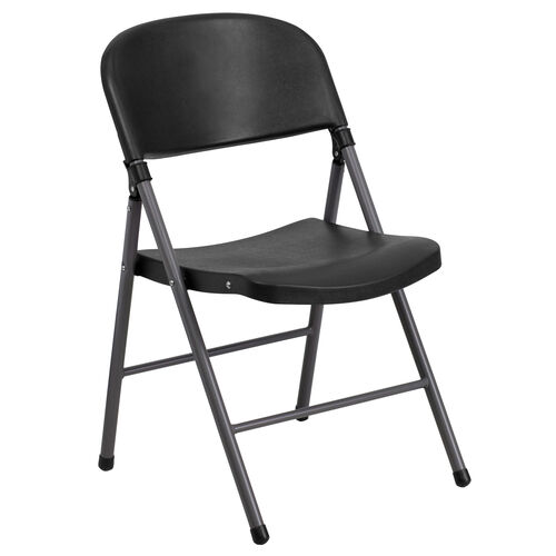 Our HERCULES Series 330 lb. Capacity Black Plastic Folding Chair with Charcoal Frame is on sale now.