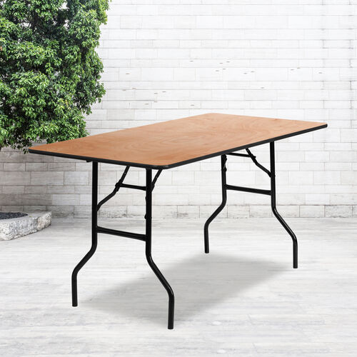5-Foot Rectangular Wood Folding Banquet Table with Clear Coated Finished Top