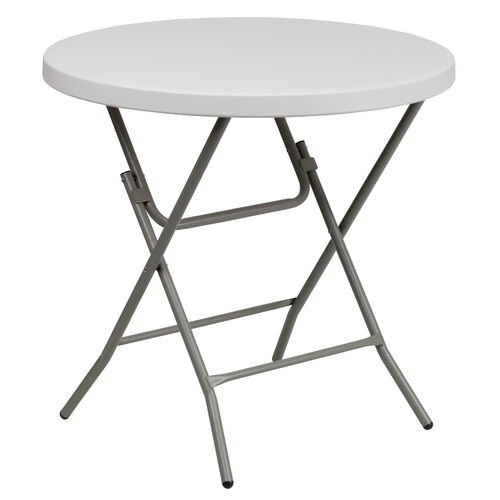 Our 2.63-Foot Round Granite White Plastic Folding Table is on sale now.