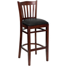 Mahogany Finished Vertical Slat Back Wooden Restaurant Barstool with Black Vinyl Seat