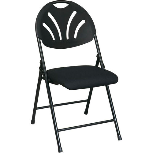 Our Work Smart Plastic Folding Chair with Fan Back and Padded Mesh Seat - Set of 4 - Black with Black Frame is on sale now.
