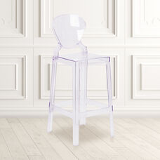 Ghost Barstool with Tear Back in Transparent Crystal