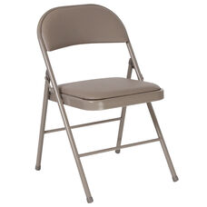 HERCULES Series Double Braced Gray Vinyl Folding Chair