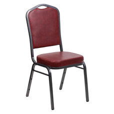 HERCULES Series Crown Back Stacking Banquet Chair in Burgundy Vinyl - Silver Vein Frame
