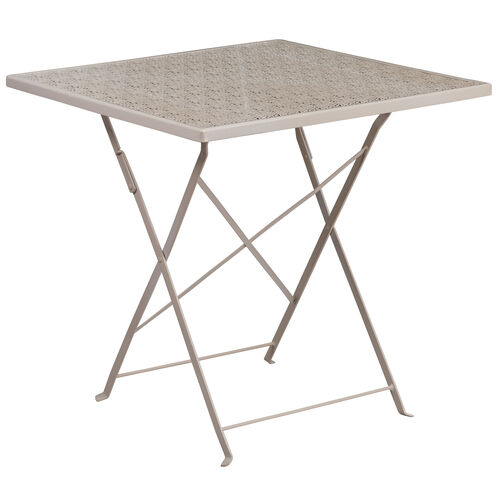 "Our Commercial Grade 28"" Square Light Gray Indoor-Outdoor Steel Folding Patio Table is on sale now."