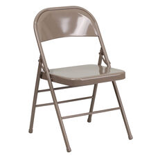 HERCULES Series Triple Braced & Double Hinged Beige Metal Folding Chair