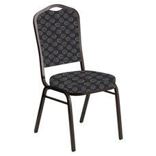 Embroidered Crown Back Banquet Chair in Cirque Black Fabric - Gold Vein Frame