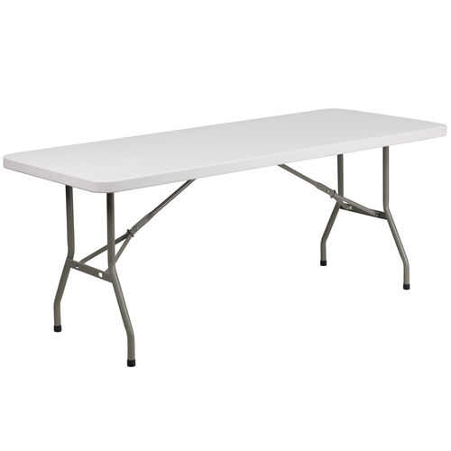 Our 6-Foot Granite White Plastic Folding Table is on sale now.
