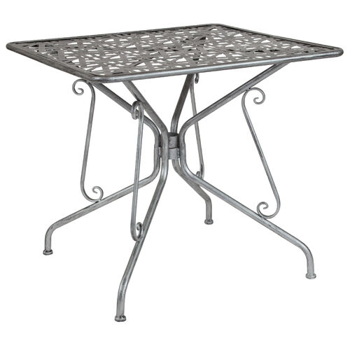 """Our Agostina Series 31.5"""" Square Antique Silver Indoor-Outdoor Steel Patio Table is on sale now."""