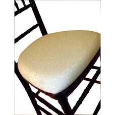 Legacy Series Ballroom Wood Base Seat Pad with Hook and Loop Fastening - Ivory Brocade