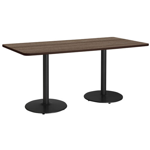 """Our 36""""W x 84""""D Rectangular Laminate Pedestal Table with Studio Teak Top - Round Black Base is on sale now."""