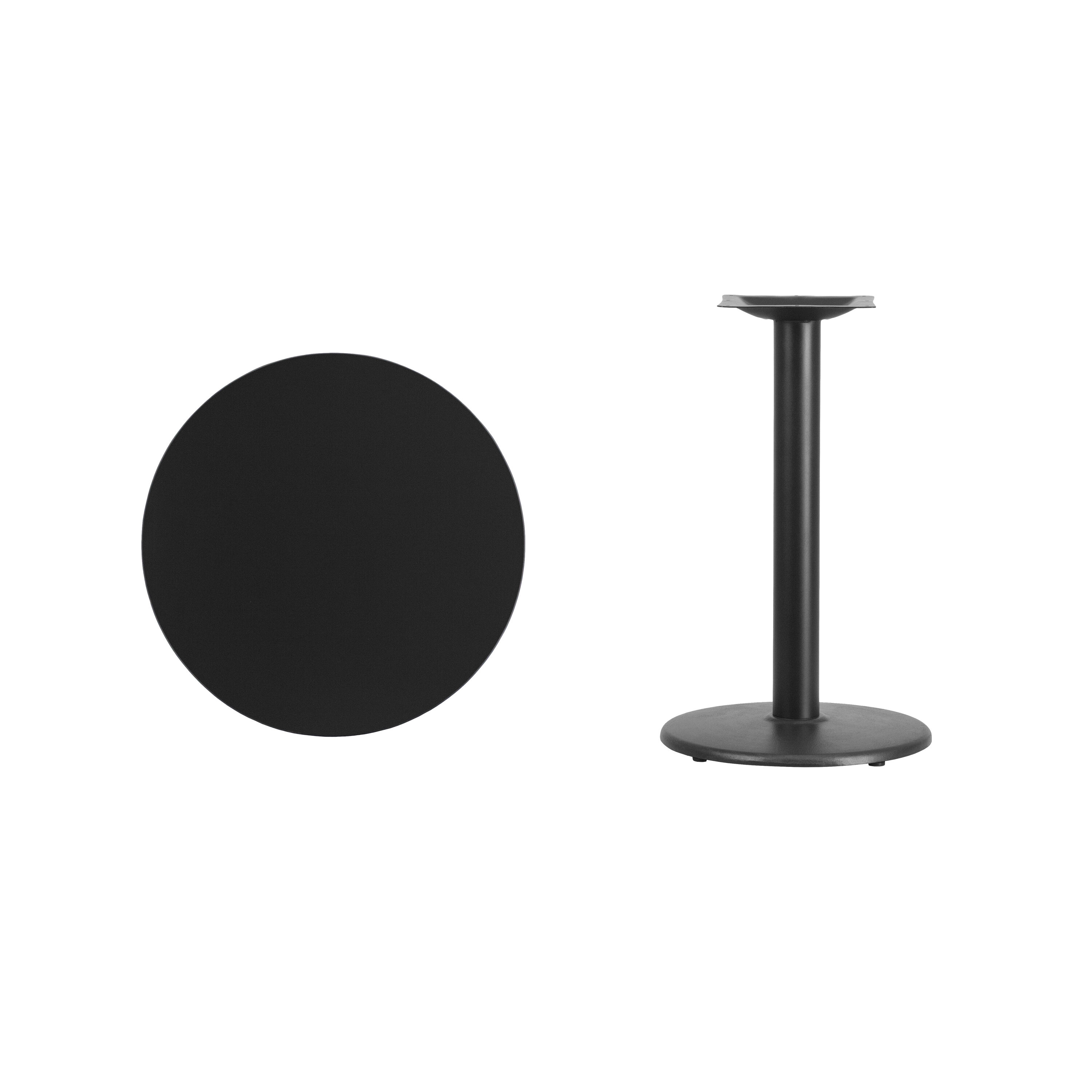 ... Our 24u0027u0027 Round Black Laminate Table Top With 18u0027u0027 Round Table Height
