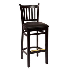 Delran Black Wood Slat Back Barstool - Vinyl Seat