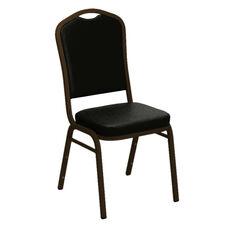 Embroidered Crown Back Banquet Chair in E-Z Sierra Black Vinyl - Gold Vein Frame