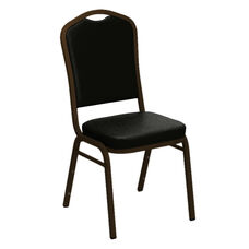 Crown Back Banquet Chair in E-Z Sierra Black Vinyl - Gold Vein Frame