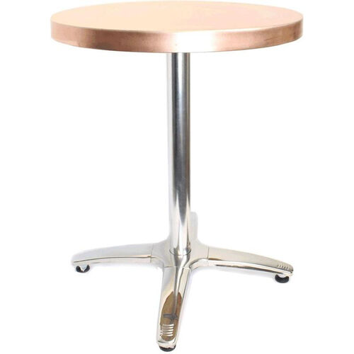 Our Round Copper Cafe Table with Stainless Steel Base - 36