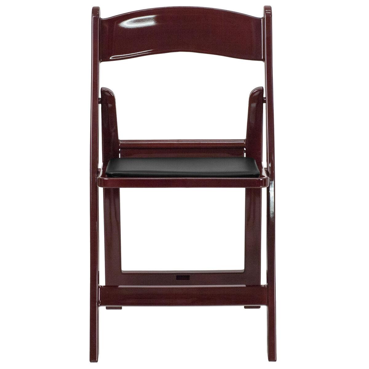 Enjoyable Hercules Series 1000 Lb Capacity Red Mahogany Resin Folding Chair With Black Vinyl Padded Seat Bralicious Painted Fabric Chair Ideas Braliciousco