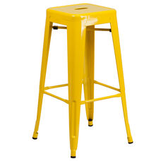 """Commercial Grade 30"""" High Backless Yellow Metal Indoor-Outdoor Barstool with Square Seat"""