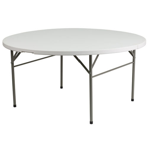 "Our 60"" Round Bi-Fold Granite White Plastic Banquet and Event Folding Table with Carrying Handle is on sale now."