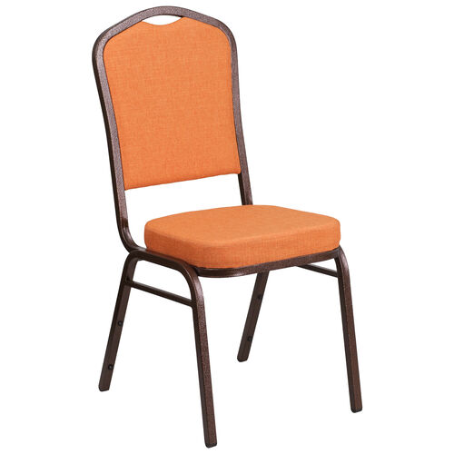 Our HERCULES Series Crown Back Stacking Banquet Chair in Orange Fabric - Copper Vein Frame is on sale now.