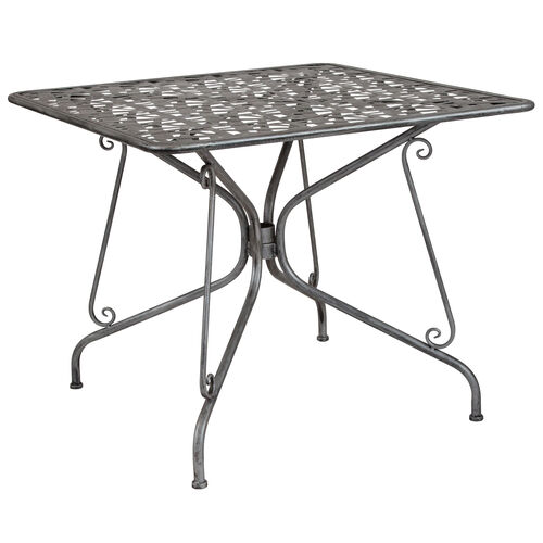 "Our Agostina Series 35.25"" Square Antique Silver Indoor-Outdoor Steel Patio Table is on sale now."