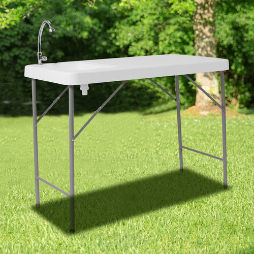 4-Foot Portable Fish Cleaning Table / Outdoor Camping Table and Sink