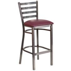 Clear Coated Ladder Back Metal Restaurant Barstool with Burgundy Vinyl Seat