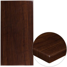 "30"" x 60"" Rectangular High-Gloss Walnut Resin Table Top with 2"" Thick Edge"