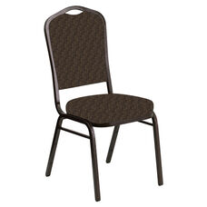 Embroidered Crown Back Banquet Chair in Optik Rustic Brown Fabric - Gold Vein Frame