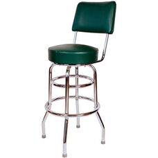 Retro Style Double Ring Chrome Frame 30'' Swivel Bar Stool with Backrest and Padded Seat - Green Vinyl