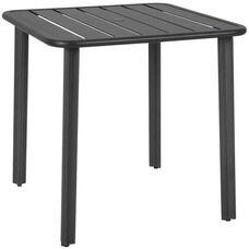 Vista 32'' x 32'' Outdoor Aluminum Table with Umbrella Hole - Black