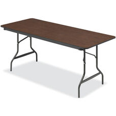 Economy 30'' W x 72'' D Wood Laminate Folding Table with Bullnose T-Mold Edge - Walnut