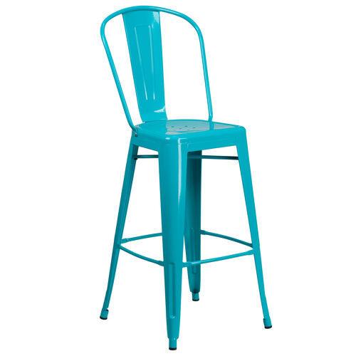 """Our Commercial Grade 30"""" High Crystal Teal-Blue Metal Indoor-Outdoor Barstool with Back is on sale now."""