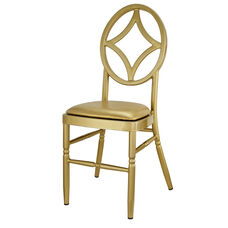 Velika Series Stackable Diamond Aluminum Dining Chair with Gold Vinyl Cushion - Gold