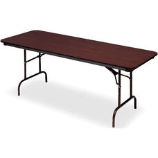 Premium 30'' W x 72'' D Wood Laminate Folding Table with Vinyl T-Mold Edge - Mahogany
