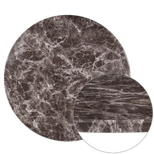 "Our 24"" Round Gray Marble Laminate Table Top is on sale now."