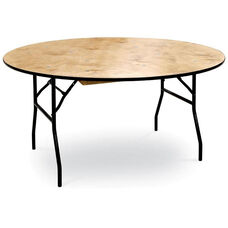 36''H Round Plywood Folding Table with Locking Wishbone Style Legs