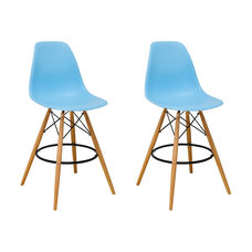 Paris Tower Barstool with Wood Legs and Blue Seat - Set of 2