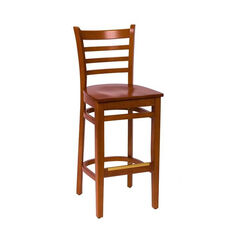 Burlington Cherry Wood Ladder Back Barstool - Wood Seat